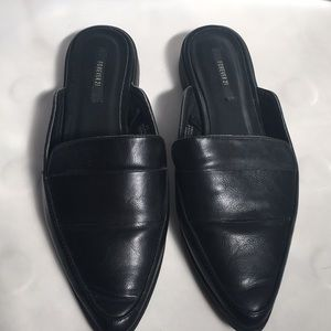 Forever 21 Black Mule Loafers